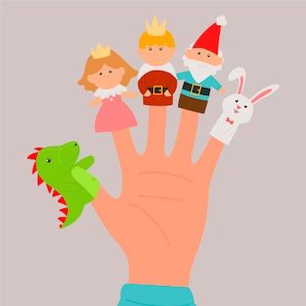 Pakje handgetekende schattige vingerpoppetjes