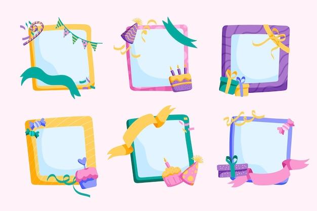 Pakje handgetekende verjaardagscollage frames