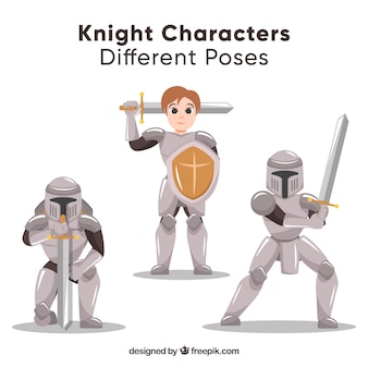 Pakje karakters met pantser in verschillende posities