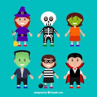 Pakje kinderen vermomd als halloween