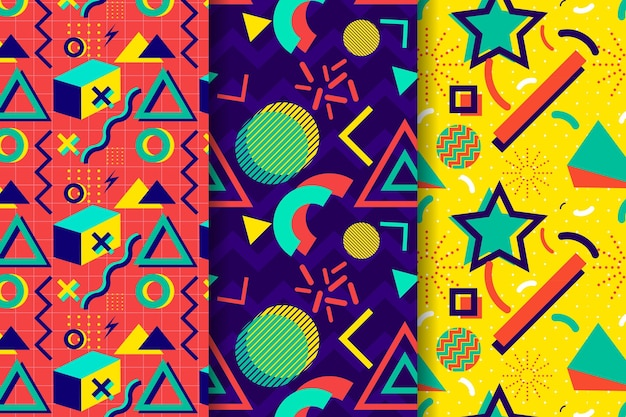 Pakje kleurrijke memphis patronen