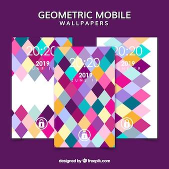 Pakje kleurrijke rhombussen mobiele wallpapers