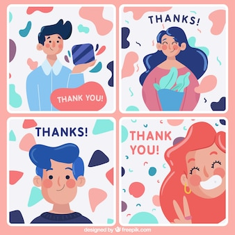 Pakje leuk dank je kaarten met karakters