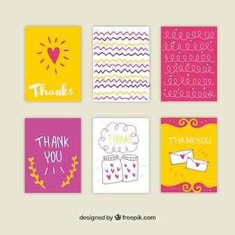 Pakje met de hand getekende dank u kaarten