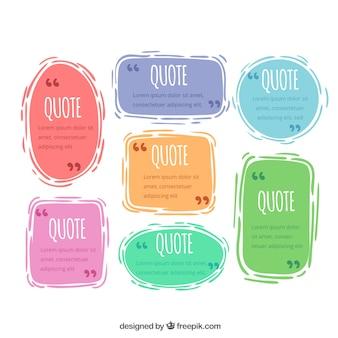 Pakje met gekleurde citaat sjablonen