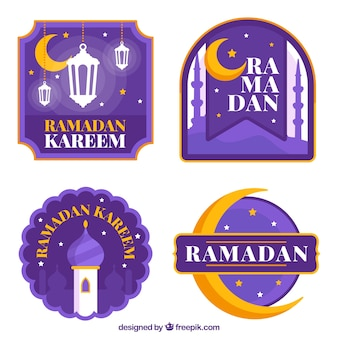 Pakje paarse ramadan badges