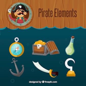 Pakje piratenelementen in plat ontwerp