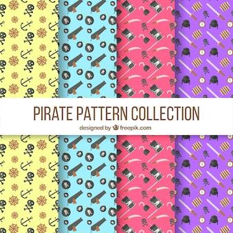 Pakje piratenpatronen in plat ontwerp