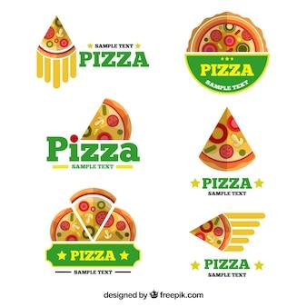 Pakje pizza-logo's in vlakke vormgeving