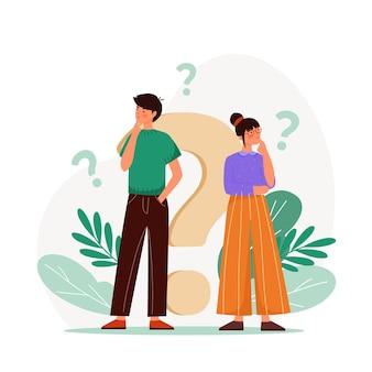 Pakje platte mensen die vragen stellen