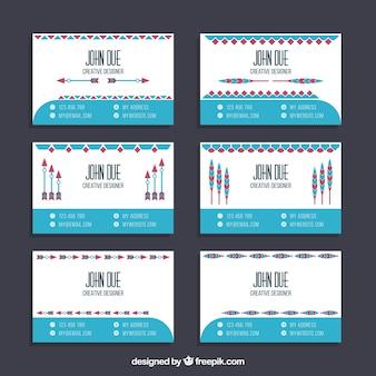 Pakje platte visitekaartjes in boho stijl