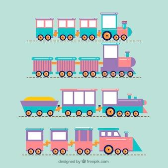 Pakje schattige speelgoed treinen