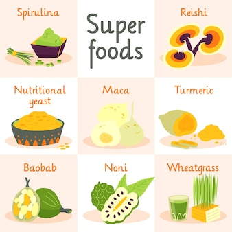 Pakje superfood illustraties