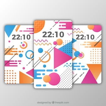 Pakje van drie mobiele wallpapers in memphis stijl