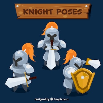 Pakje van drie ridders met zwaarden en schild