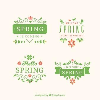 Pakje van vier decoratieve de lente stickers