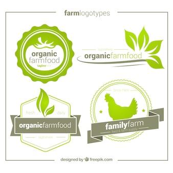 Pakje van vier hand getekende biologische logo's