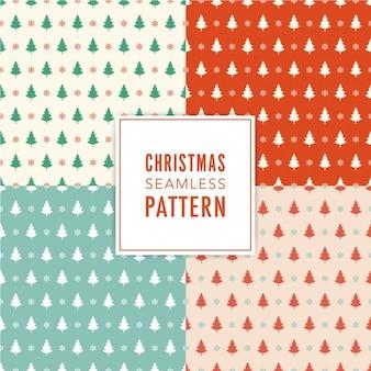 Pakje van vier patronen met kerstbomen in verschillende kleuren