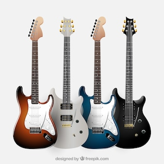Pakje van vier realistische elektrische gitaren