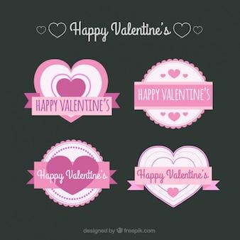 Pakje van vier valentines etiketten in roze tinten