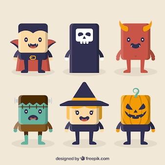 Pakje vriendelijke halloween karakters in plat ontwerp