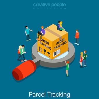 Pakket bestelling volgen plat isometrische zakelijke online winkel winkel leveringsconcept grote doos op vergrootglas en microklanten.