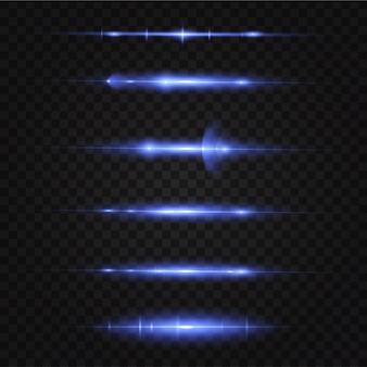 Pakket blauwe horizontale lenzen, schittering, laserstralen, schittering, lichtstralen, gloeiende strepen.