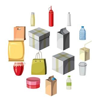 Pakket container iconen set, cartoon stijl