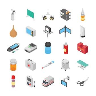Pakket diabetescontrole, arts, medische meetinstrumenten, medicijnen, dieetvoeding