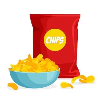 Pakket en bord chips in trendy cartoon-stijl. stapel chips in een kom. verpakkingsmalplaatje op witte achtergrond wordt geïsoleerd die.