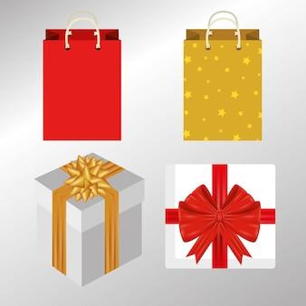 Pakket geschenkverpakkingen met strikken