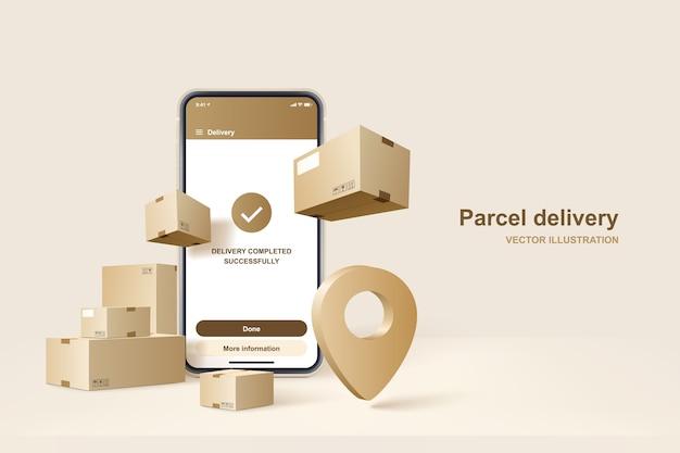Pakket levering. concept voor snelle bezorgservice, illustratie