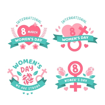 Pakket met badge voor internationale vrouwendag