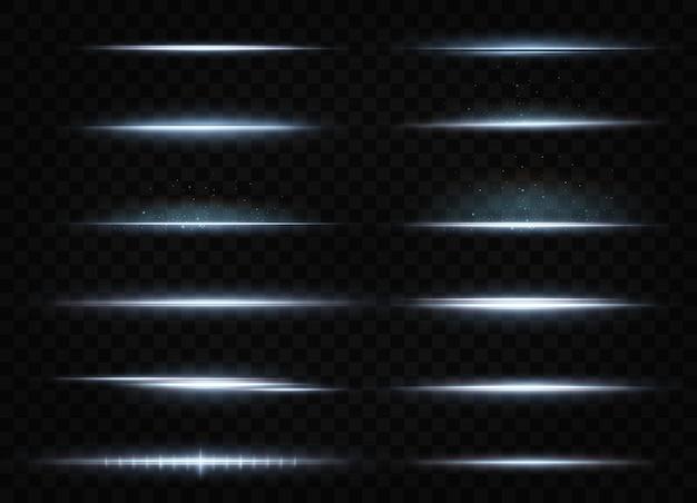Pakket met blauwe horizontale highlights laser neonstralen horizontale lichtblauwe stralen mooie lichtflitsen gloeiende strepen op een donkere achtergrond