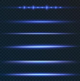 Pakket met blauwe horizontale highlights laser-neonstralen horizontale lichtblauwe stralen