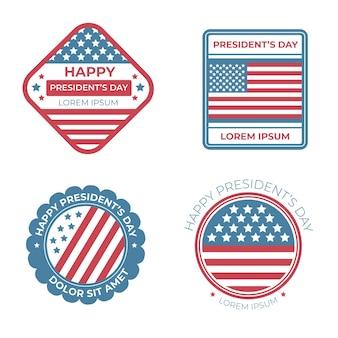Pakket met etiketten voor evenementen op de presidentiële dag