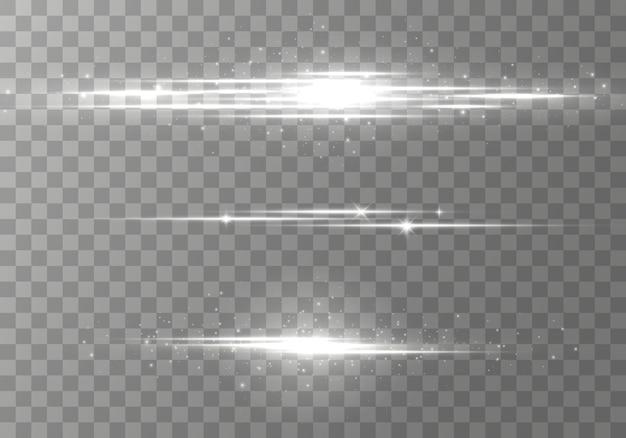 Pakket met horizontale lensfakkels, laserstralen, mooie lichtflare. lichtstralen. gloedlijn op transparante achtergrond.