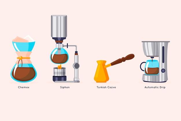 Pakket met koffiezetmethoden met plat ontwerp