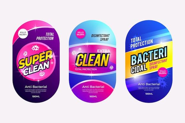 Pakket met labels voor viricide en bacteriedodende reinigers