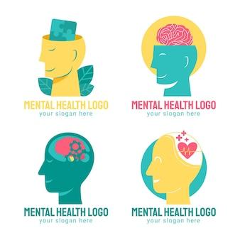 Pakket met logo's voor platte geestelijke gezondheid
