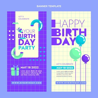Pakket met minimaal verjaardagsbanners met plat ontwerp