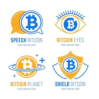Pakket met plat ontwerp bitcoin-logo's