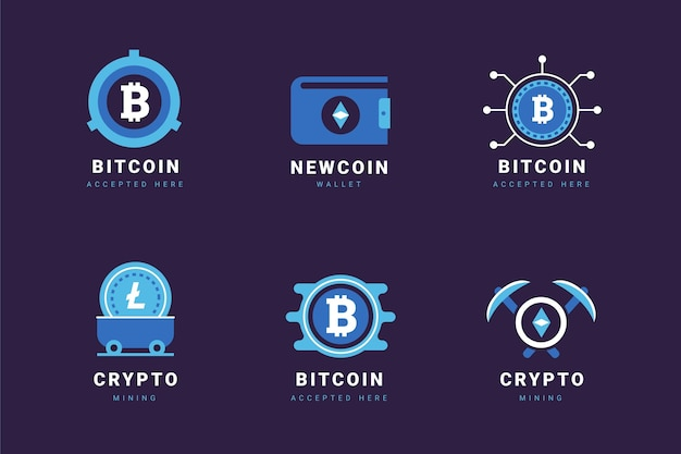 Pakket met platte bitcoin-logo's