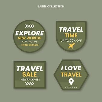 Pakket met platte reisetiketten Gratis Vector