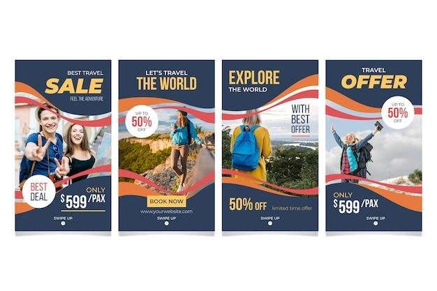Pakket met reisverhalen op sociale media