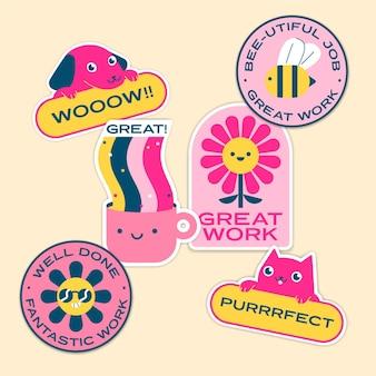 Pakket met stickers voor goed werk en goed werk