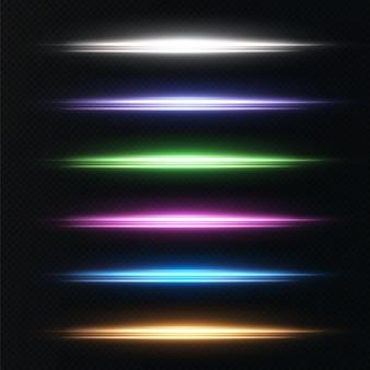 Pakket met veelkleurige blauw groen roze goud neon wit horizontale highlights laserstraal
