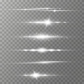 Pakket met witte horizontale lensfakkels, laserstralen, lichtflare. lichtstralen glow line heldere schittering gloeiende strepen. lichtgevende abstracte sprankelende lijnen. Premium Vector