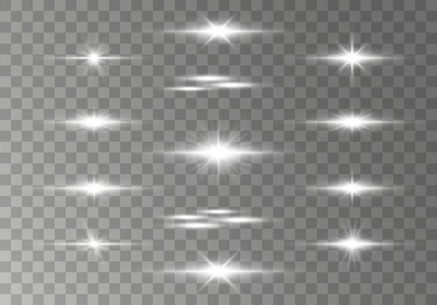 Pakket met witte horizontale lensfakkels, laserstralen, lichtflare.