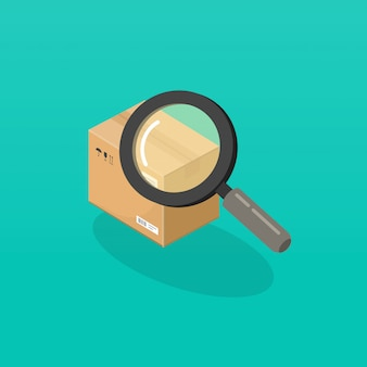 Pakket of order tracking met vergrootglas